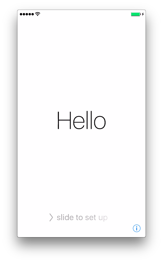 Окно приветствия iPhone