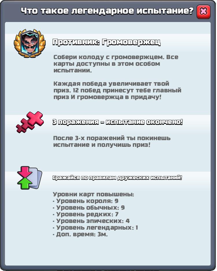 Правила испытания Громовержца Clash Royale
