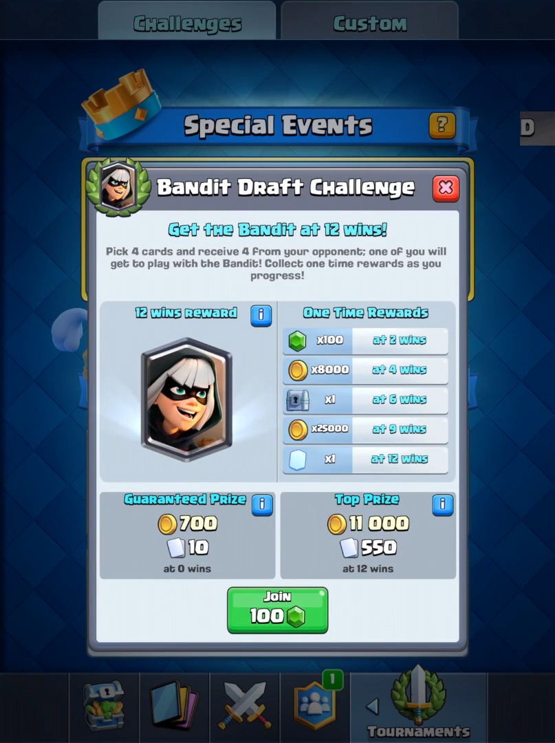 Bandit Draft Challenge Clash Royale