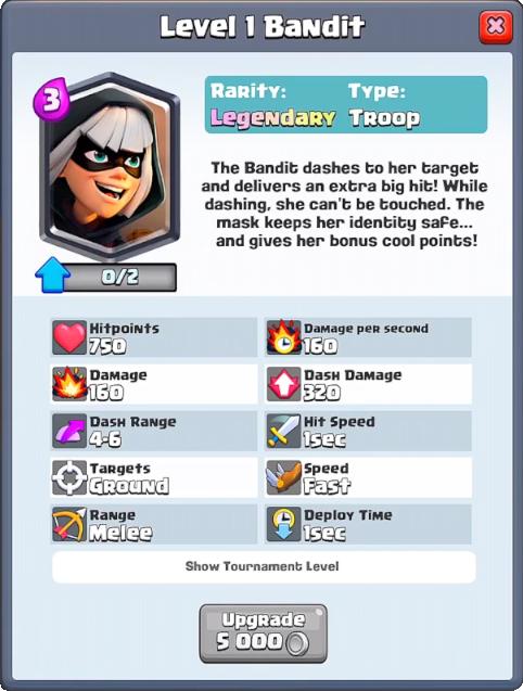 Bandit info Clash Royale