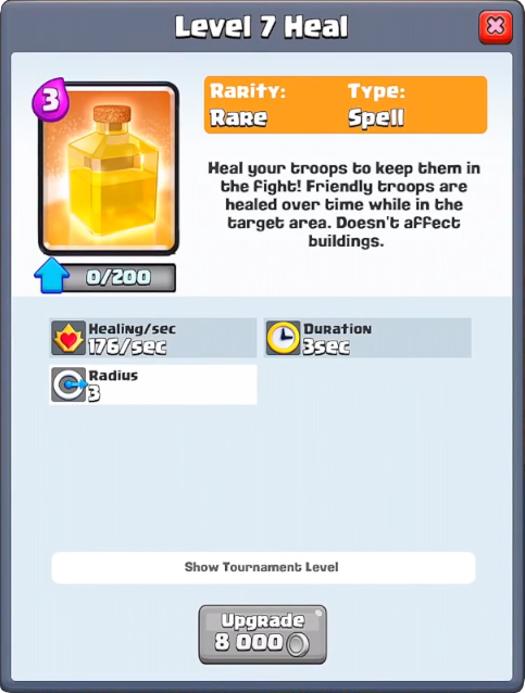 Heal info Clash Royale