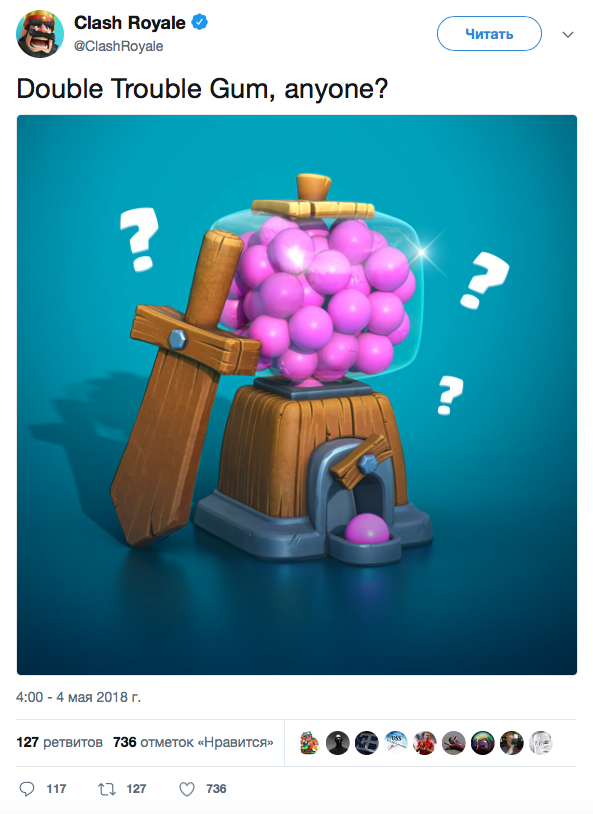 Double Trouble Gum, anyone? Clash Royale Twitter