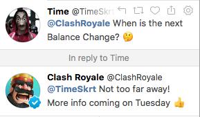 Изменение баланса во вторник в Clash Royale