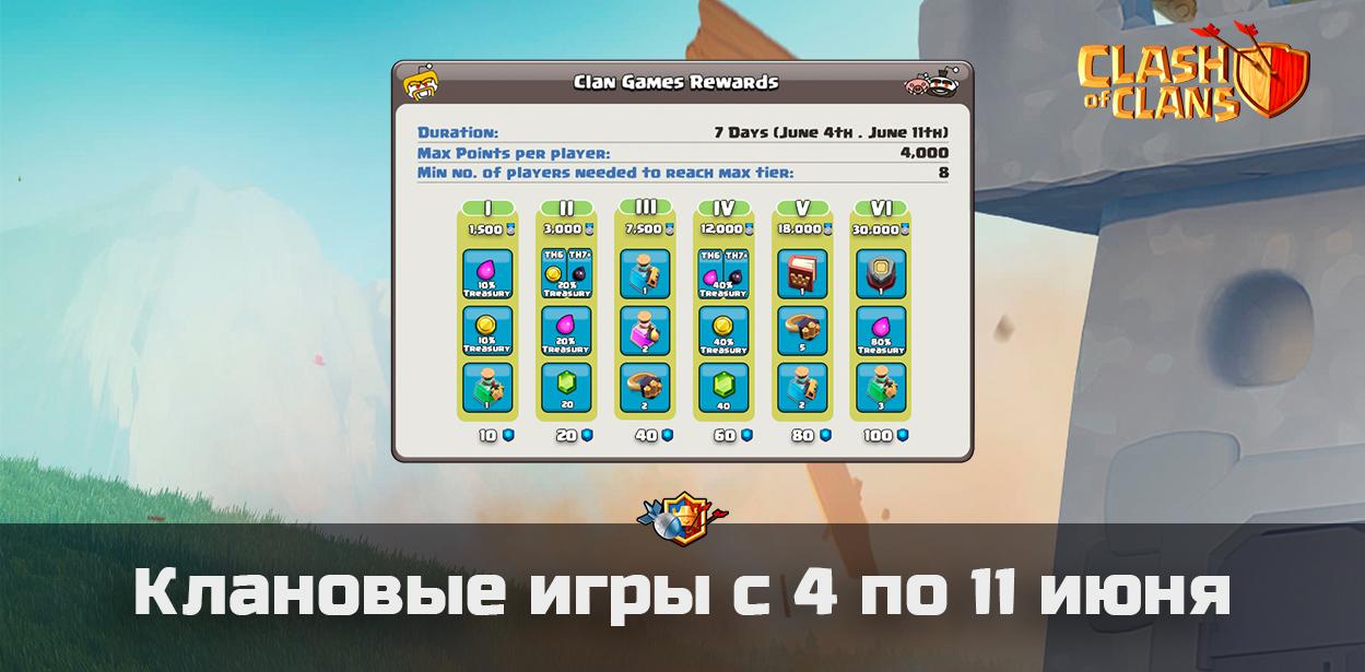 Клановые игры с 4 по 11 июня в Clash of Clans