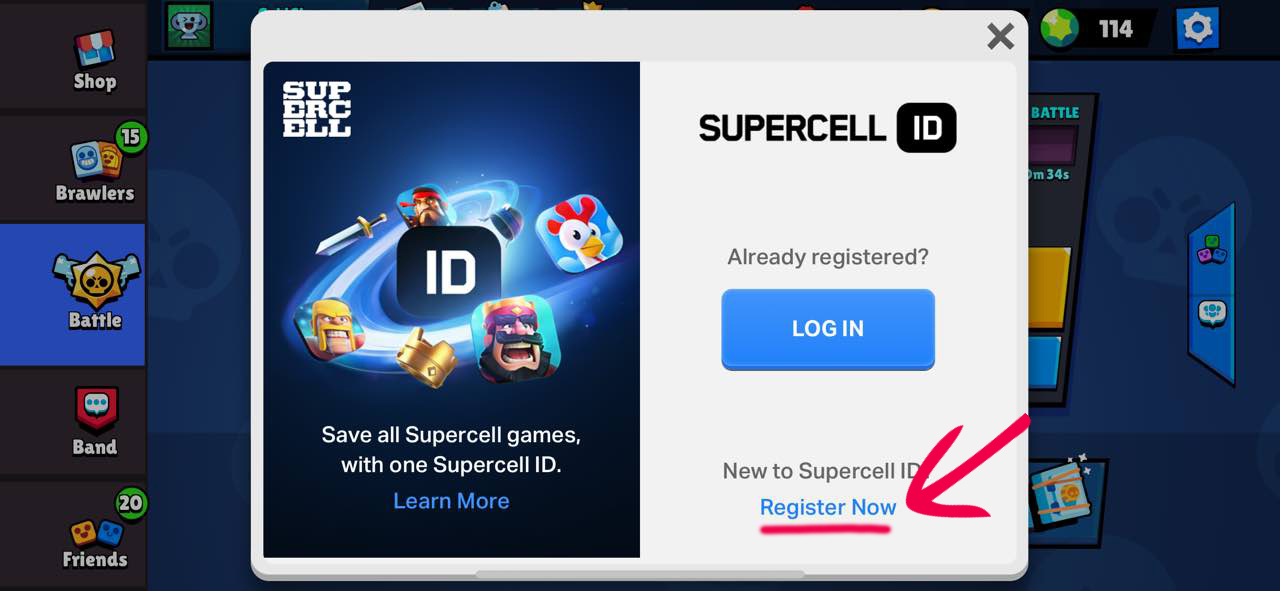 Register Now - Supercell ID в Brawl Stars