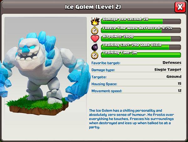 Ледяной голем 2 уровень в Clash of Clans