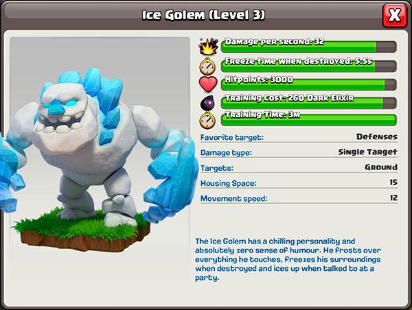 Ледяной голем 3 уровень в Clash of Clans
