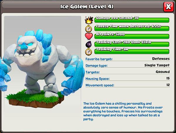 Ледяной голем 4 уровень в Clash of Clans
