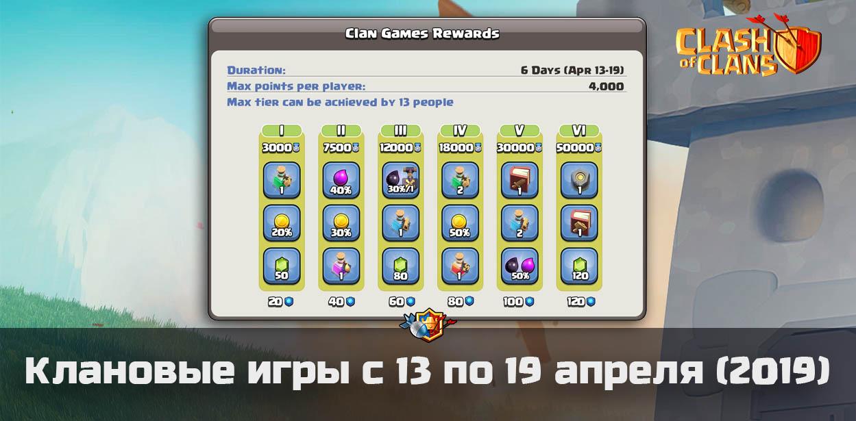Награды игр кланов с 13 по 19 апреля в Clash of Clans