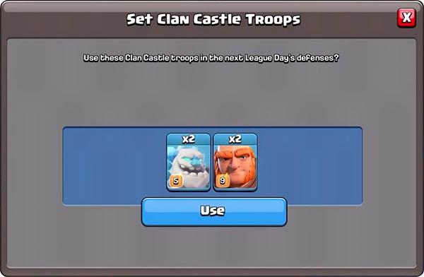 Выбор воиск для клановой крепости