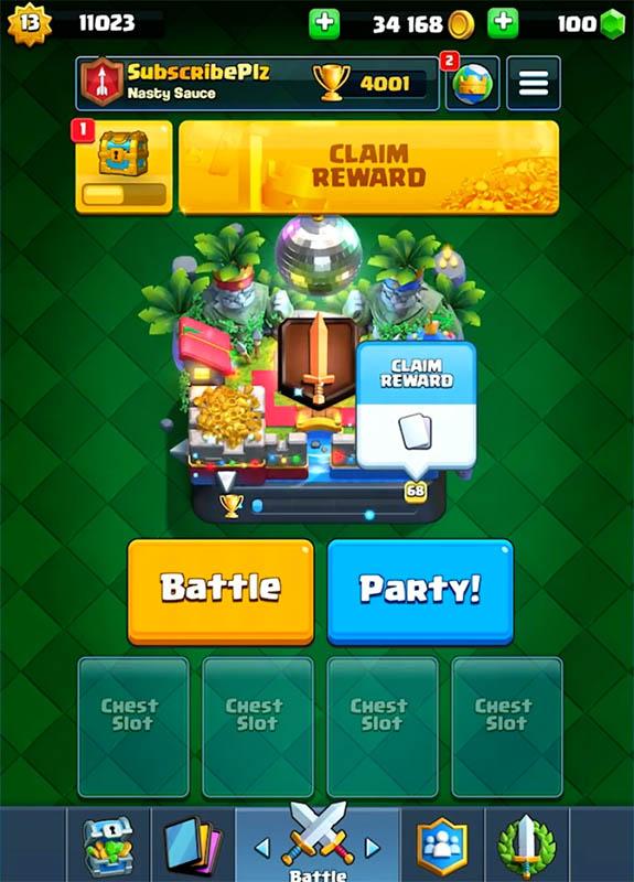 Зеленый фон в Clash Royale
