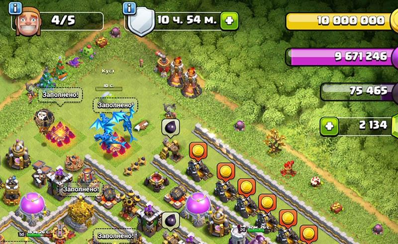 Защитные сооружения на краю базы в Clash of Clans