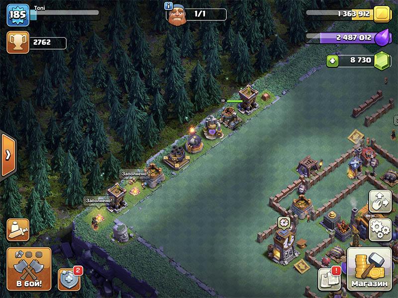 Здания 3 на 3 за краем базы в Clash of Clans
