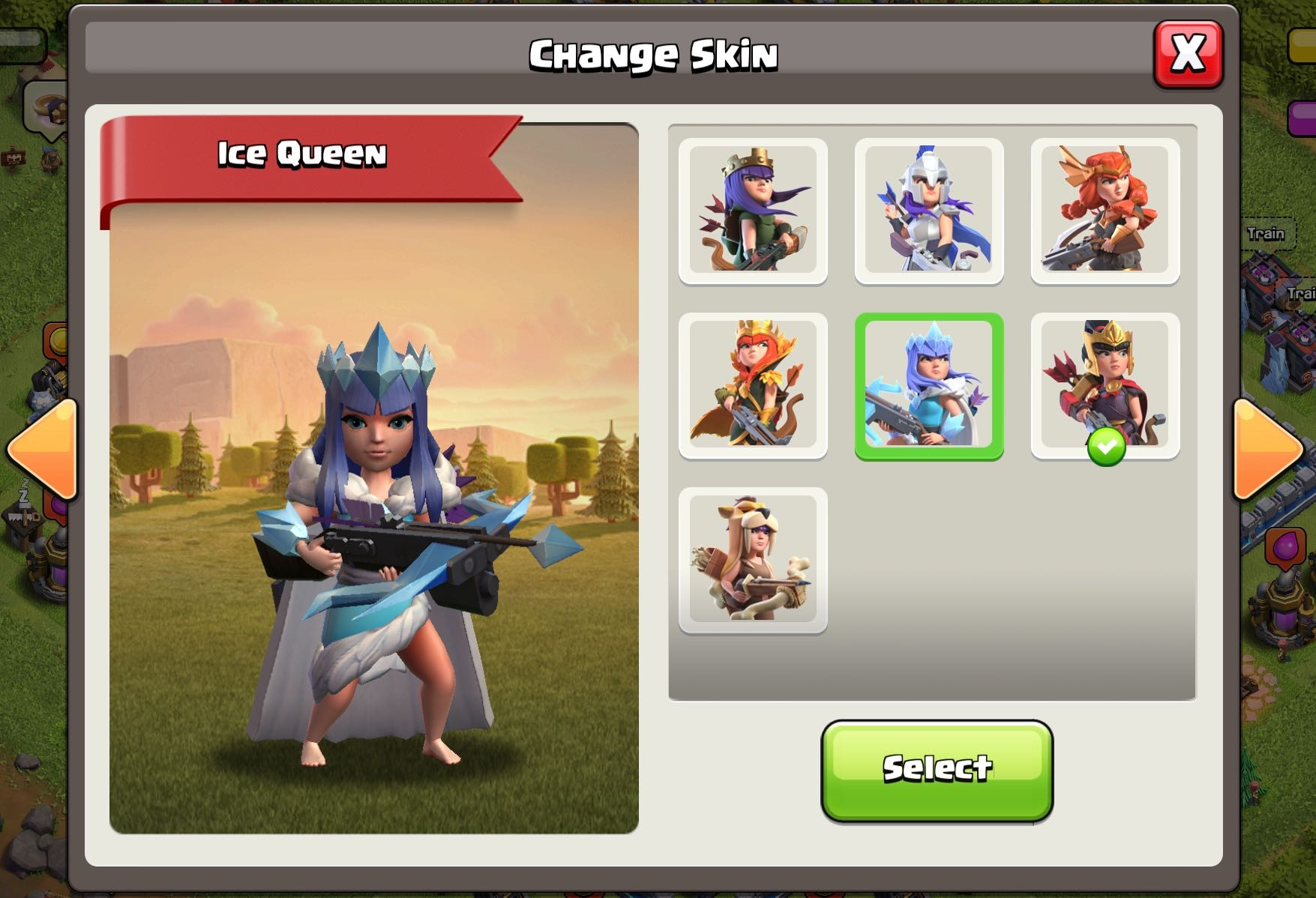 Новое UI смены скина героя в Clash of Clans