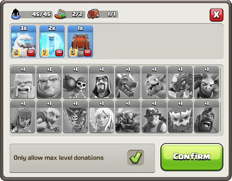 Новый способ пожертвования войск в Clash of Clans