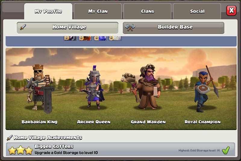 Новый вид героев в профиле - Clash of Clans