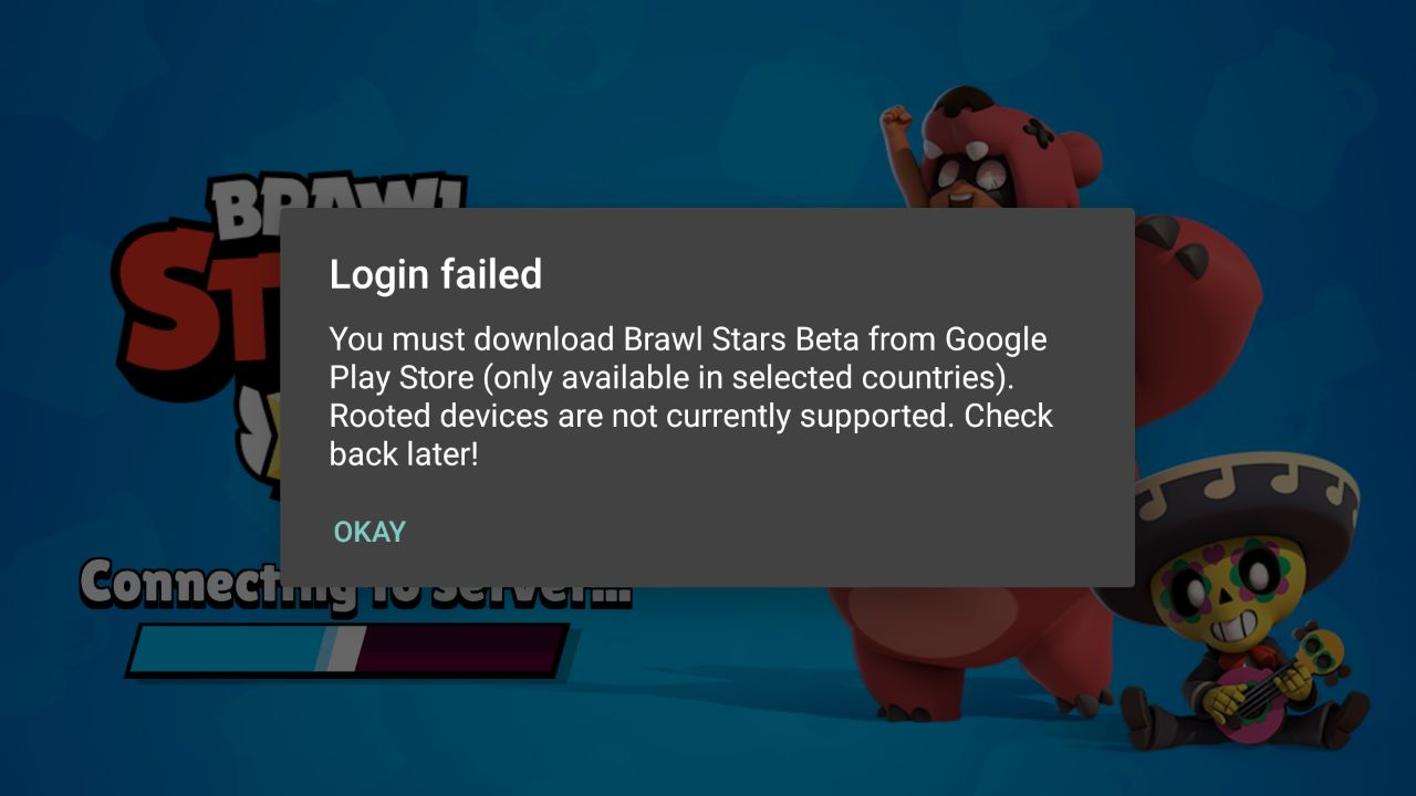 Login failed в Brawl Stars - окно с ошибкой